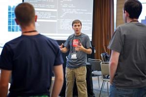 Matt Scilipoti running the Code Retreat photo courtesy of James Duncan Davidson