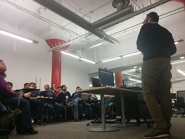 SmartLogic Developer Ara Hacopian speaking at Bmore on Rails. Photo credit: Chris Strom