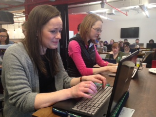 Teacher Sarah Morgan at the B'more on Rails Workshop for Women for Ruby on Rails