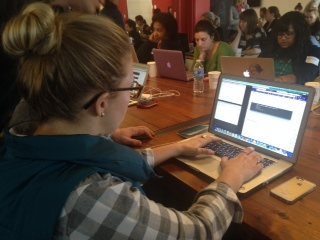Sarah Jones of LMO Advertising at B'more on Rails Workshop for Women for Ruby on Rails