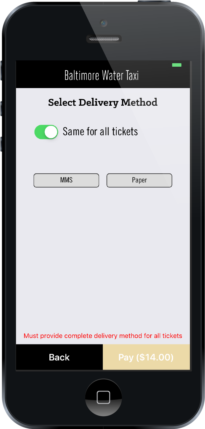Users can select a delivery method (SMS or Paper) when purchasing tickets