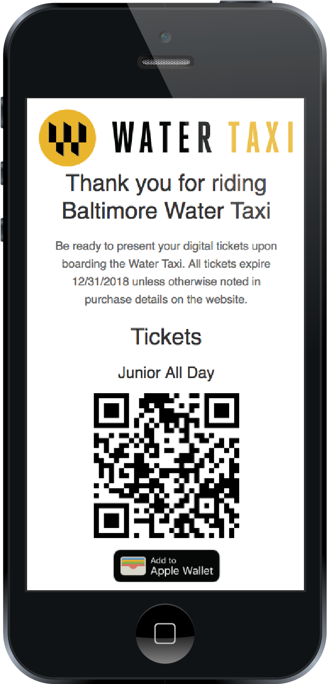 What a purchased ticket looks like when viewed on iPhone