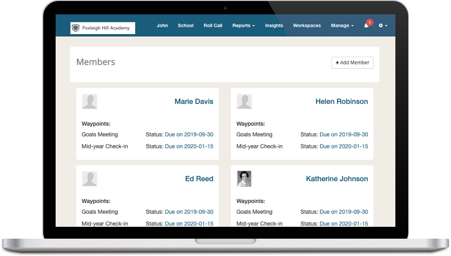 FolioCollaborative Workspaces Members Screen